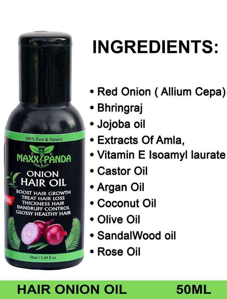 Maxx Panda Strong Onion Hair Oil For Hair Regrowth, Fall, Stop Dandruff Treatment 50 ML